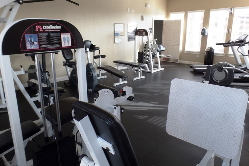 Beautiful fitness center at The Abbey at Stone Oak in San Antonio, TX