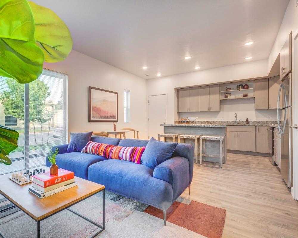 A modern open-concept floor plan at Hawthorne Townhomes in South Salt Lake, Utah
