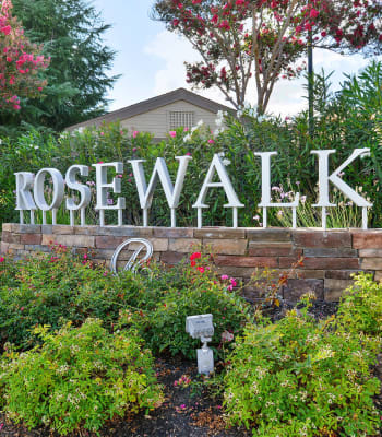 Beautiful apartment building sign at Rosewalk in San Jose, California