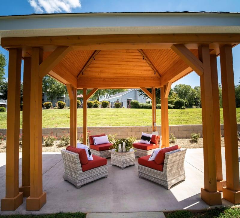 A gazebo with comfortable seating at 200 Braehill in Winston-Salem, North Carolina