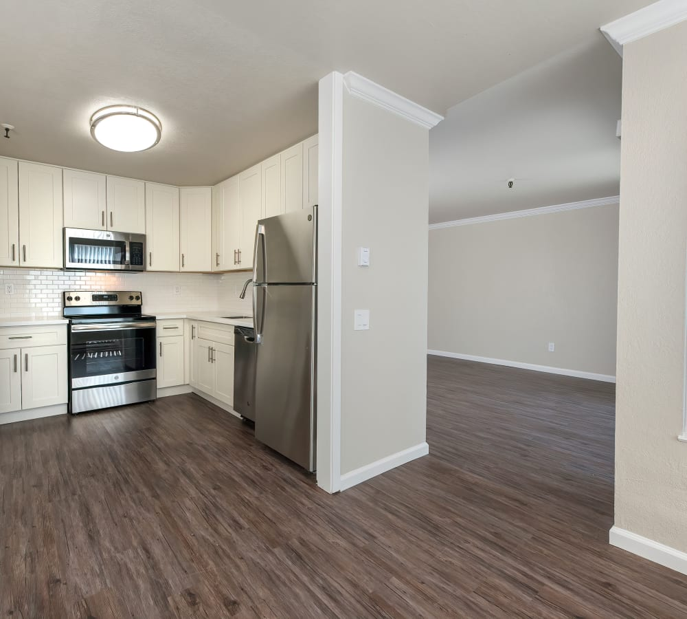 A luxury kitchen with plenty of cabinet space at Tower Apartment Homes in Alameda, California