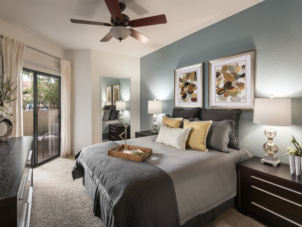 Model bedroom at San Prado in Glendale, Arizona