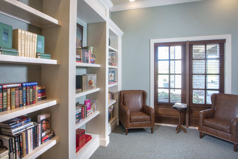 Library and Reading Nook at The Claiborne at McComb in McComb, Mississippi.