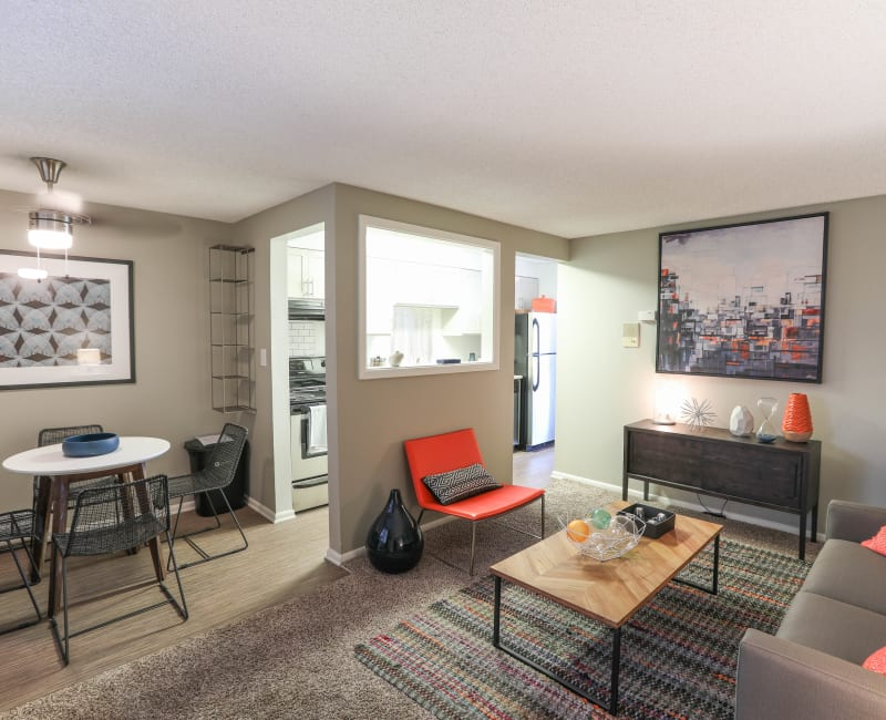 Comfortably decorated living area in a model home at Ten30 in Broomfield, Colorado