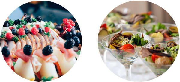 Canapes with fruit and salad in martini glass