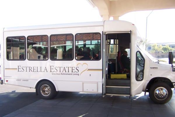 Community bus at Estrella Estates Gracious Retirement Living in Goodyear, Arizona