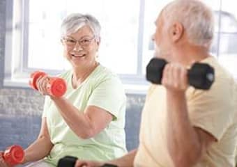 Residents exercising at Discovery Village At Boynton Beach in Boynton Beach, Florida