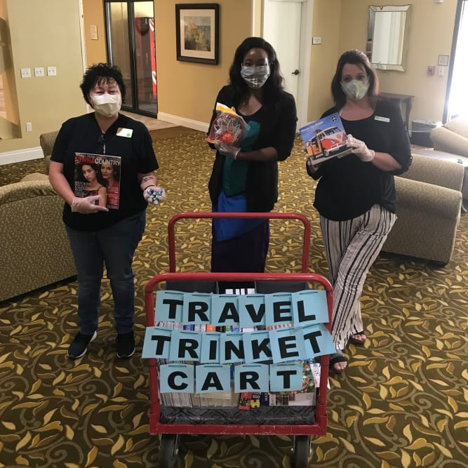 Travel safe message from residents at Grand Villa of Delray West in Delray Beach, Florida
