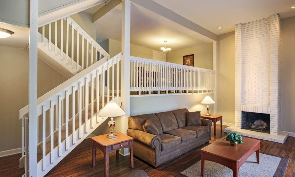 Spacious living room at Nineteen North Apartments in Pittsburgh, Pennsylvania