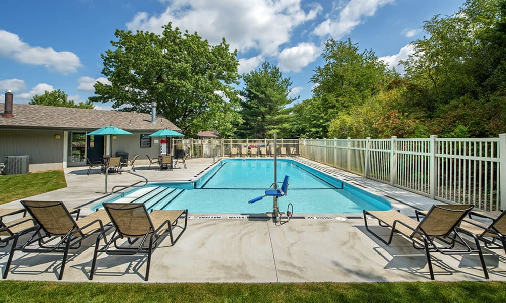 Gated swimming pool at Nineteen North Apartments in Pittsburgh, Pennsylvania