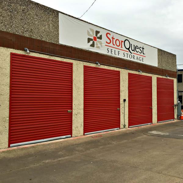 Outdoor storage units at StorQuest Self Storage in Dallas, Texas