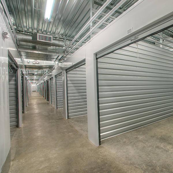 Open indoor storage units at StorQuest Self Storage in Oakland, California