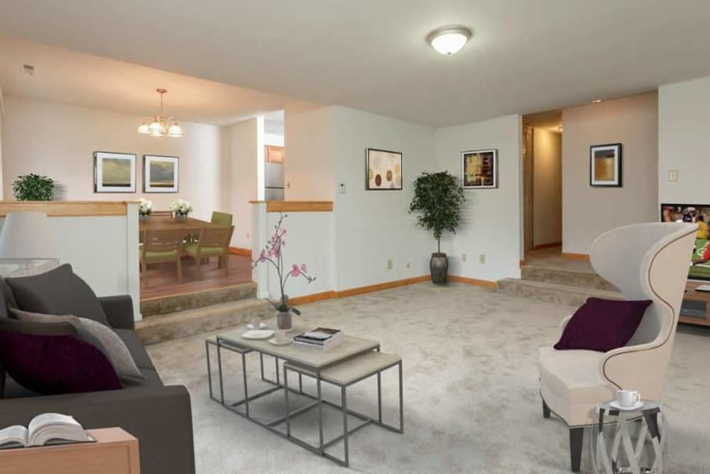 Spacious living room at Meadowbrook Apartments in Slingerlands, New York
