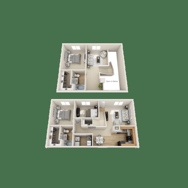 Sandia floor plan at Las Kivas Apartments