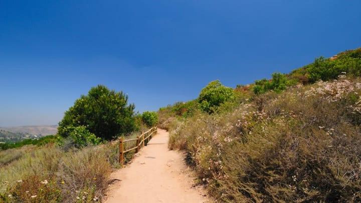 Hillside hiking trail new Olympus Corsair in San Diego, California