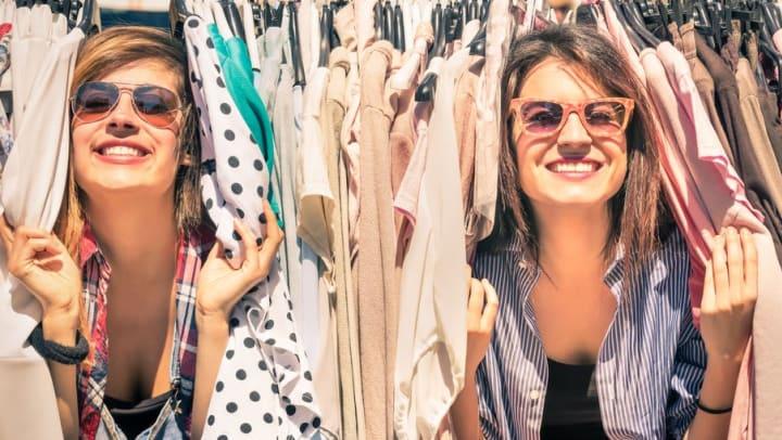 Women shopping at vintage clothing store near Olympus Fenwick in Savannah, Georgia