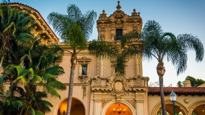 Historic Spanish colonial homefront near Olympus Corsair in San Diego, California