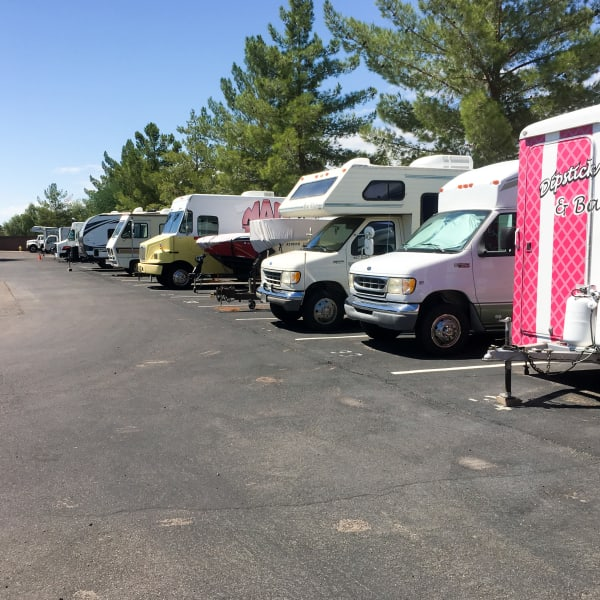 RVs and trailers parked at StorQuest Self Storage in Long Beach, New York