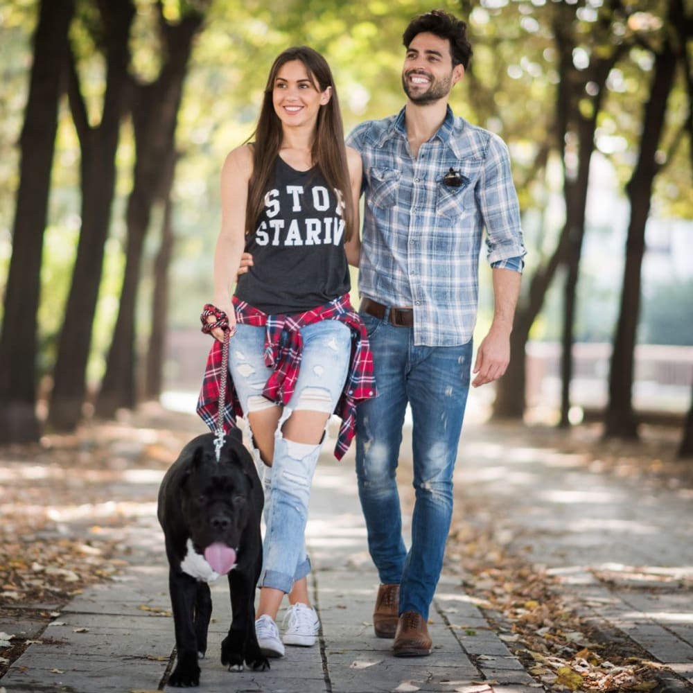 Residents walking their dog near Morehead West in Charlotte, North Carolina
