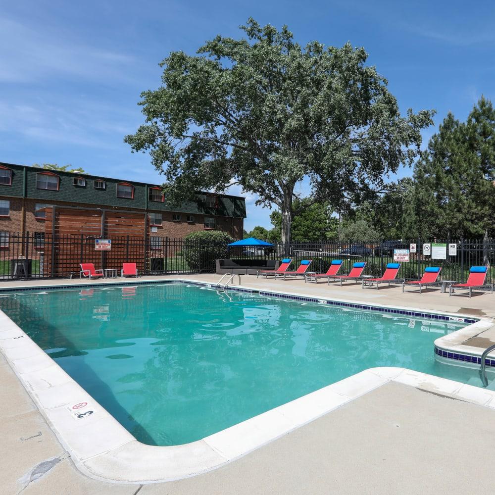 Swimming pool area at Ten30 in Broomfield, Colorado