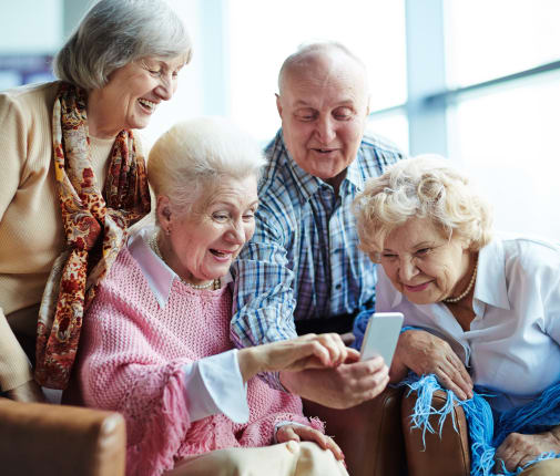 Residents enjoying time together at Evergreen Court in North Bend, Oregon