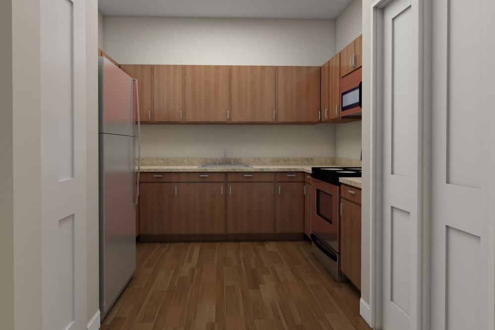 Architectural rendering of kitchen at Harmony at Bellevue in Nashville, Tennessee