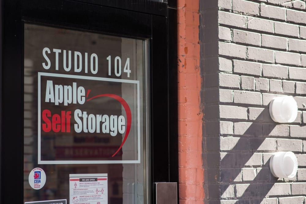 Logo on door at Apple Storage @ the Planet in Toronto, Ontario
