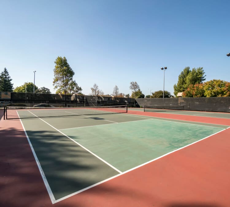 Onsite championship tennis courts at Waterstone Fremont in Fremont, California