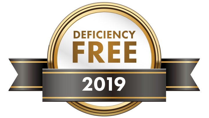 Banner that says Deficiency free 2019