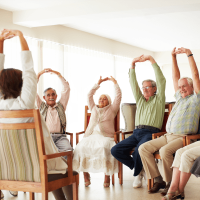 Fitness classes at Northglenn Heights Assisted Living in Northglenn, Colorado