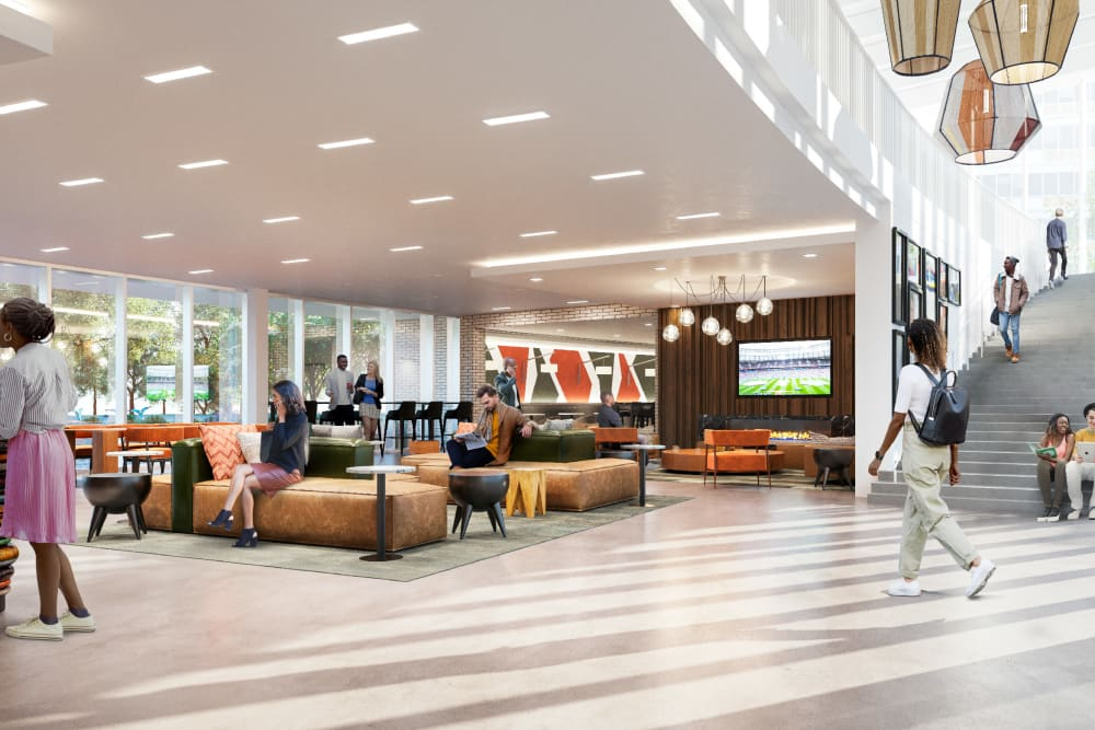 Rendering of the First floor lobby and leisure space at Prairie Shores