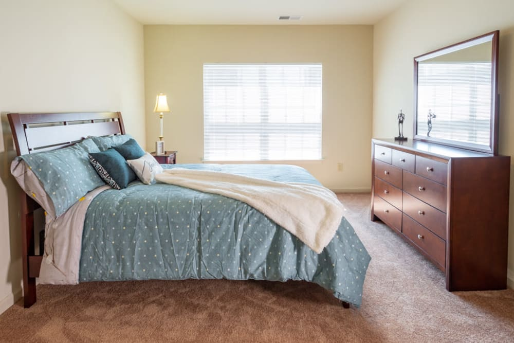 Apartment bedroom at The Harmony Collection at Roanoke - Independent Living in Roanoke, Virginia