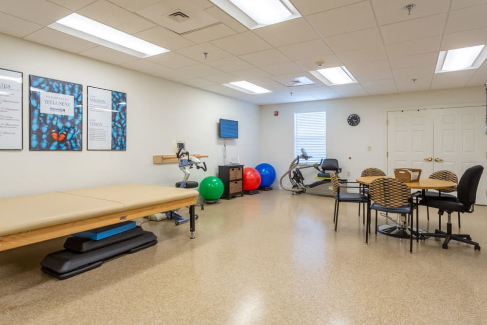 Physical therapy room at The Harmony Collection at Roanoke - Assisted Living in Roanoke, Virginia