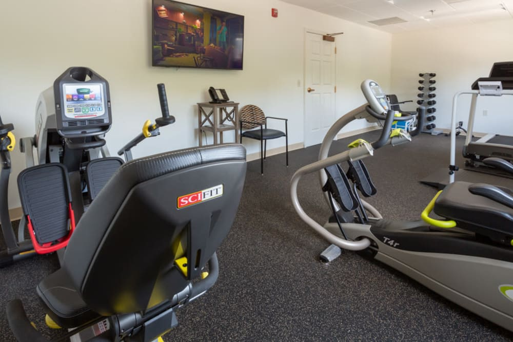 Fitness center at The Harmony Collection at Roanoke - Assisted Living in Roanoke, Virginia