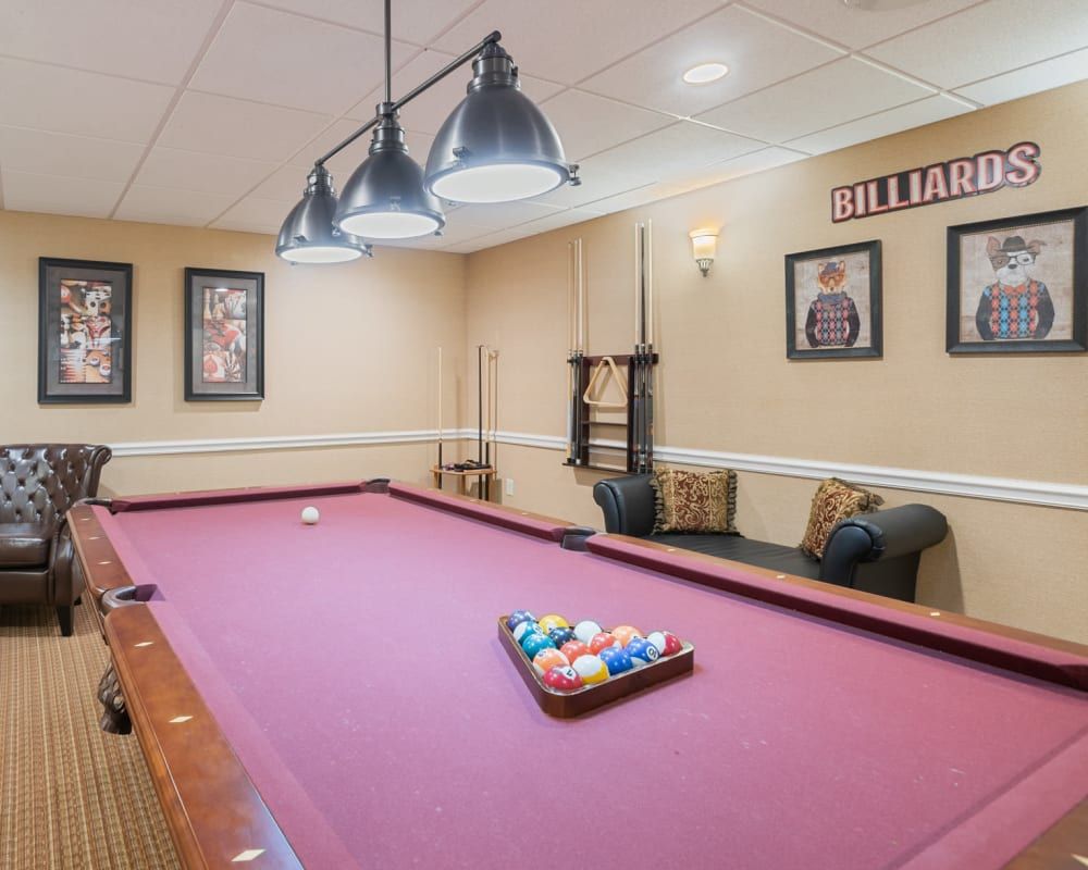 Pool table in the game room at The Hearth at Franklin in Franklin, Tennessee