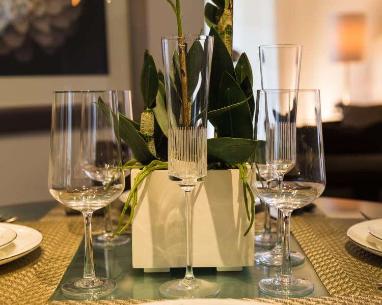 Beautiful dining table set at King David Apartments