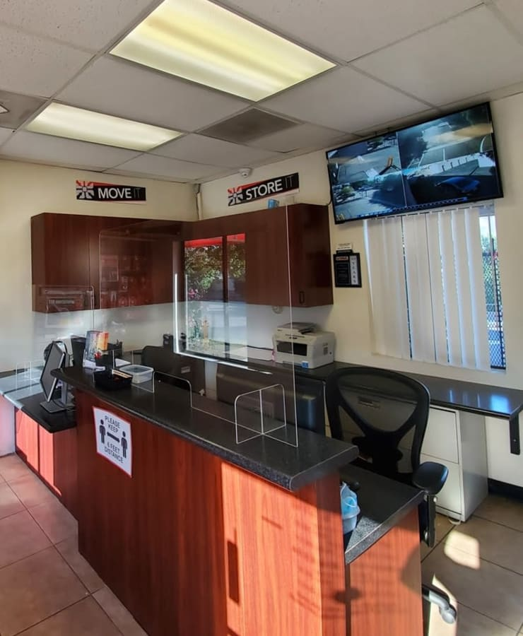 Interior of the leasing office at StorQuest Self Storage in Palm Springs, California