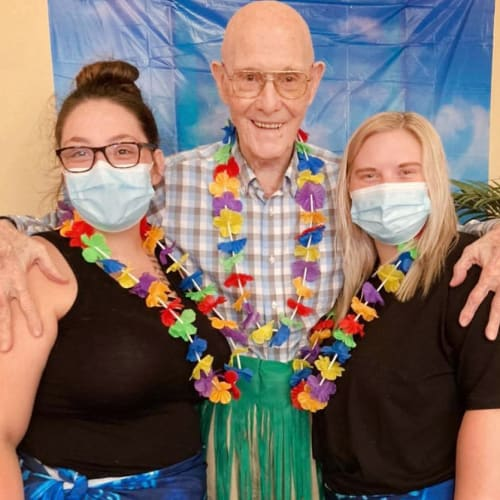 masked caretakers at an event at Canoe Brook Assisted Living in Duncan, Oklahoma