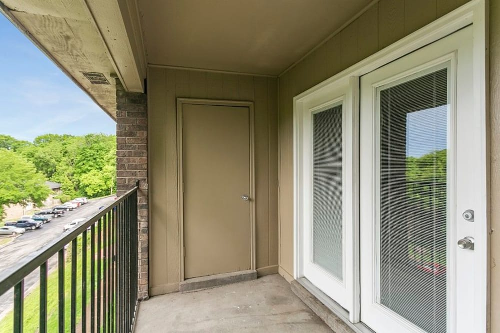 Private patio in model at Candlewood Apartments in Nashville, Tennessee