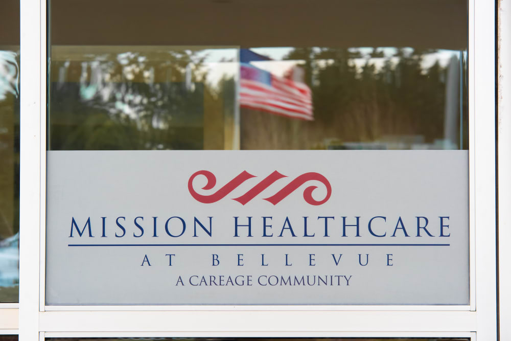 Mission Healthcare at Bellevue sign in Bellevue, Washington.