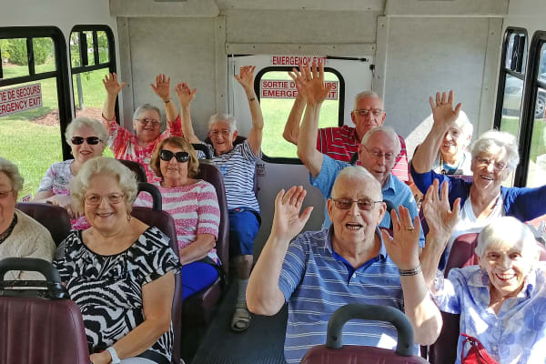Residents on the bus at Mulberry Gardens Assisted Living in Munroe Falls, Ohio