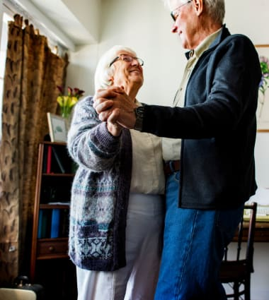Two residents dancing at Mountain Meadows Senior Living Campus in Leavenworth, Washington.