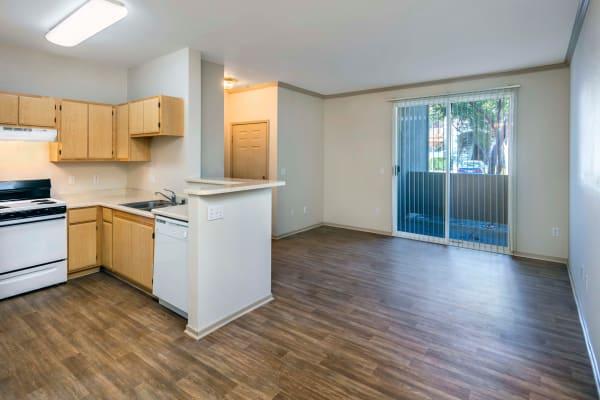 A unit with hardwood floors at Natomas Park Apartments in Sacramento, California