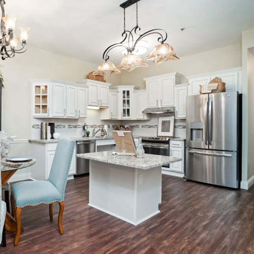 A resident kitchen at Celebration Village Acworth in Acworth, Georgia