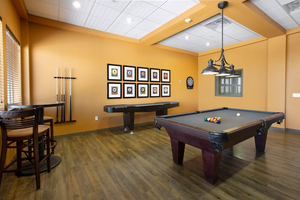 Pool table and shuffleboard at Affinity at Southpark Meadows