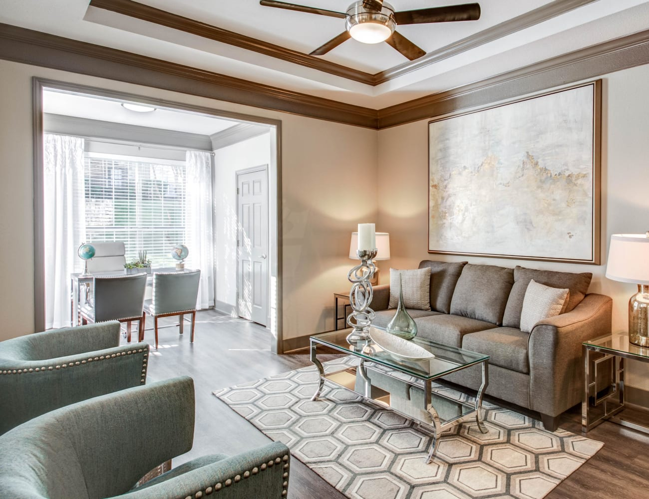 Open-concept layout with hardwood floors at Beck at Wells Branch in Austin, Texas
