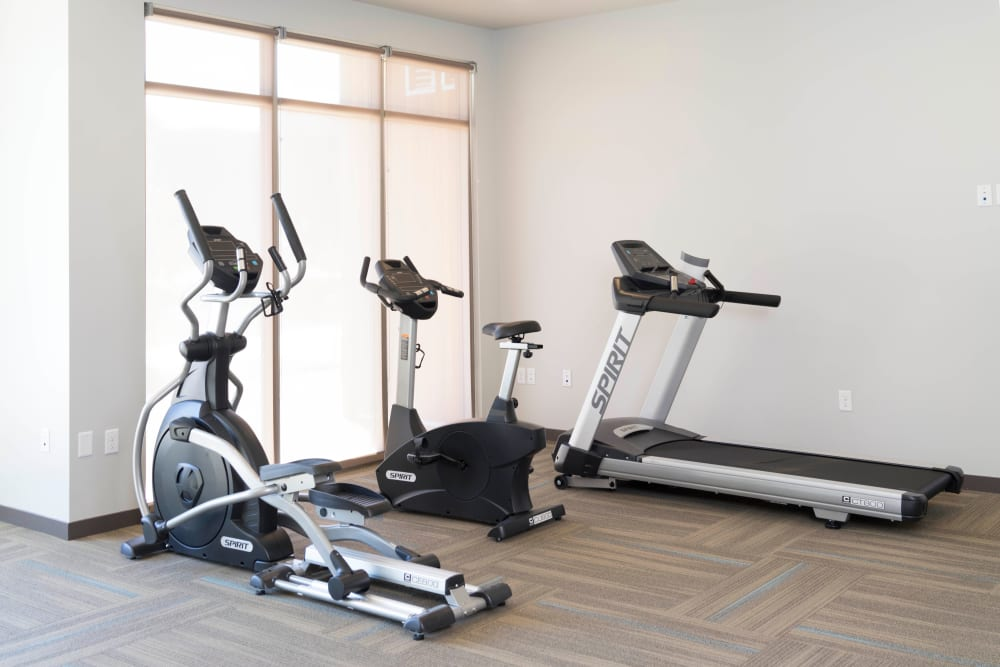 Beautiful fitness center at Garden Court Apartments Yale Station in Denver, Colorado