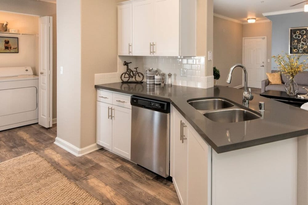Apartment kitchen with stainless-steel appliances at The Artisan Apartment Homes in Sacramento, California