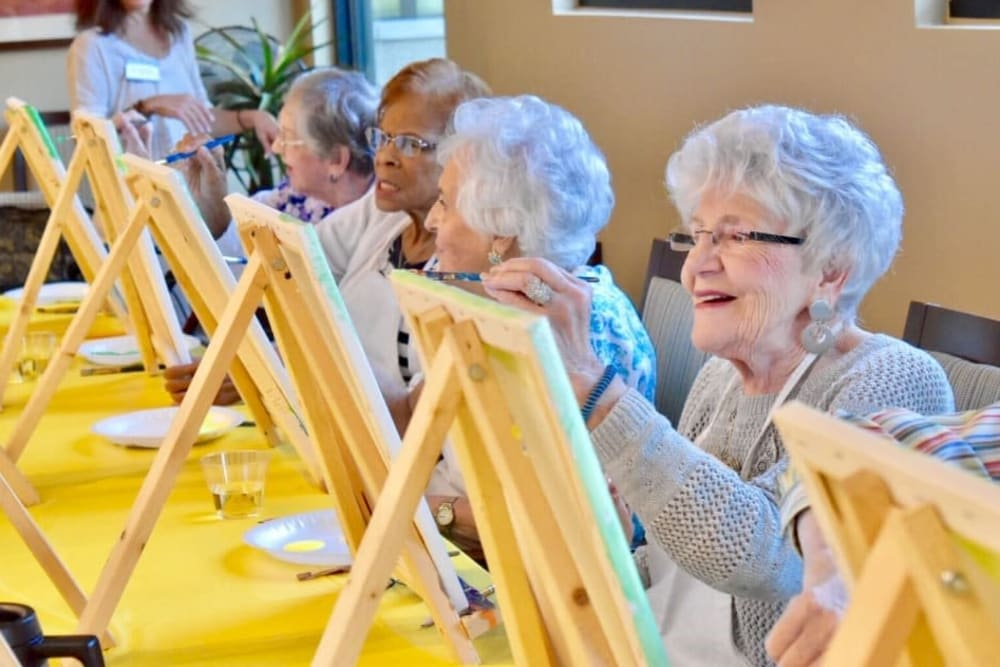 Paint and sip at Windsor Senior Living in Dallas, Texas