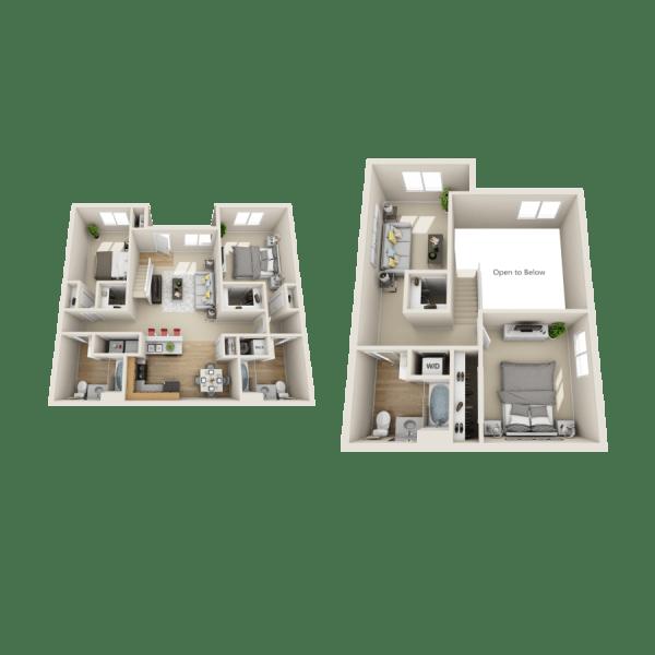 Laguna floor plan at Las Kivas Apartments